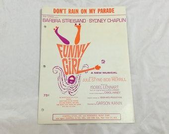 Sheet Music BARBRA STREISAND Funny Girl 1964 Don't Rain on My Parade Musical Show