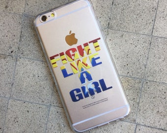 Fight Like A Girl iPhone Case, Your choice of Soft Plastic (TPU) or Wood