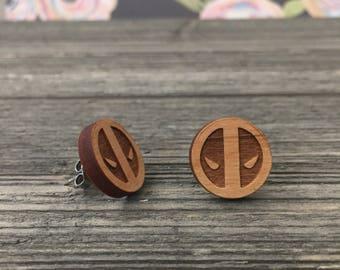Deadpool Themed Wooden Stud earrings