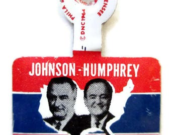 Political Pin 1964; Democratic Political Pin, Johnson-Humphrey Political Pin, Presidential Political Pin, Vintage Political Pin