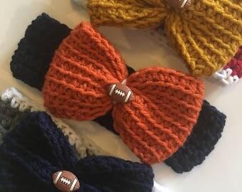 Baby Girl, Toddler Crochet Big Bow Football Headband; Denver Broncos, Dallas Cowboys, San Francisco 49ers....