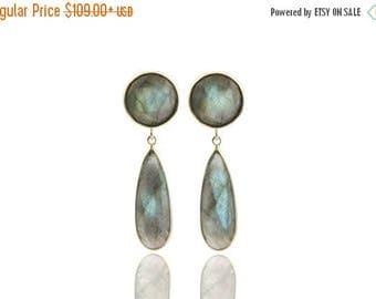 SUMMER SALE - Long earrings,Labradorite earrings,gold earrings,long bezel earrings,teardrop earrings,custom stone earrings