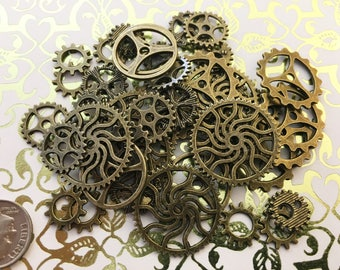 40 Brass Color Steampunk Gears Cogs Clock Wheels Watch Parts Altered Art Crafts Jewelry Supplies Crafts Sprocket Watch Timepiece Teeth Tick