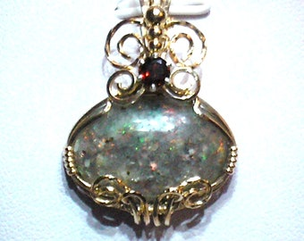 "Louisiana ""BLACK"" Opal (Extremely Rare) Pendant with Garnet - Petite - RED Fire!!! (lo135)"