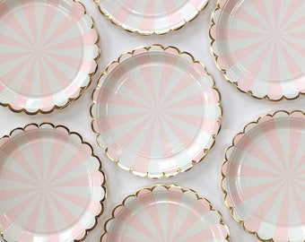 Pink Paper Plates Meri Meri Small Pink Plates Toot Sweet Pink Party Supplies Pink and Gold Party Plate Blush Pink Party Decor & 1st Birthday Party Supplies Pink and gold glitter cups Pink and ...