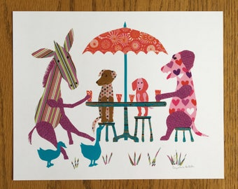 Donkey, Dogs & Geese print, cut paper art, whimsical, children print, donkey, geese, dogs, tea party, umbrella