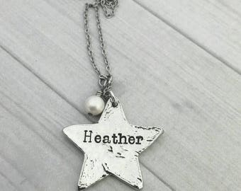 Personalized hand casted pewter Star necklace,  hand stamped star jewelry, name jewelry