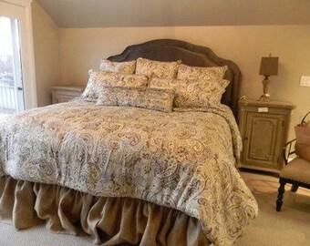 Ruffled Burlap Bedskirt - Ruffled Bed Skirt - Rustic Bedskirt - Bedding -  Bedskirt - Burlap Valance - King Size - Choose Drop