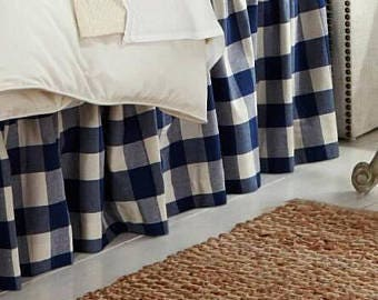 Navy Blue Buffalo Check Bed Skirt - Plaid Bed Skirt - Buffalo Check Bed Valance - Country Bedskirt - Buffalo Check Dust Ruffle  - King Size