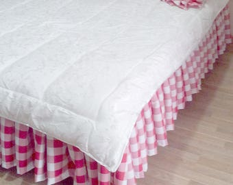 Red Buffalo Check Bed Skirt - Red Plaid Bed Skirt - Buffalo Check Bed Valance - Country Bedskirt - Buffalo Check Dust Ruffle  - Queen Size