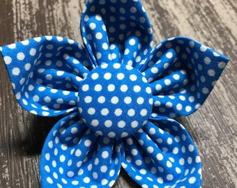 Flower Collar Attachment & Accessory for Dogs and Cats /Blue with White Polka Dots