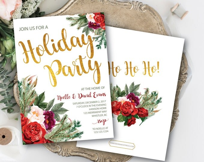Christmas Party Invitation // Red // Green // Burgundy // Holiday Soiree // New Years // Holiday // Gold // Greenery // WHISTLER COLLECTION