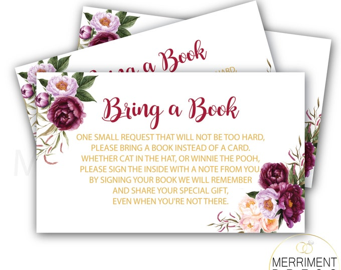 Burgundy loral Bring a Book Card // Gold // Watercolor // Marsala // Roses // Peonies // Pink // Purple // Printed // FLORENCE COLLECTION