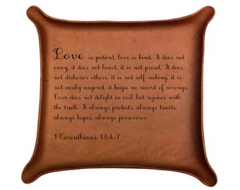 1 Corinthians 13: 4-7 / Leather Tray / Christian Wedding Gift / Anniversary Present / Love is Patient, Love is Kind /Wedding Ring Tray /Vows