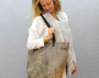 Sale!!! Taupe large leather bag, Distressed leather bag, Shoulder bag, large leather purse, large leather handbag Optional: bag's sizes