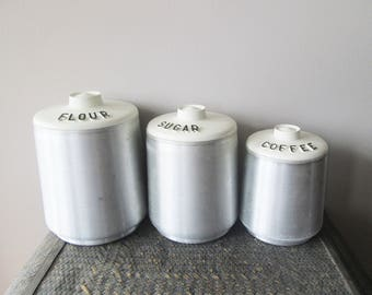 Vintage Brushed Aluminum Black White Cream Kitchen Storage Canisters, Flour Sugar Coffee