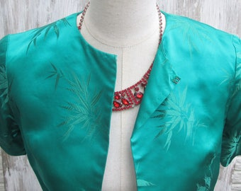 Gorgeous Vintage Emerald Green Silk Bolero Jacket, Midi Half Asian Style Evening