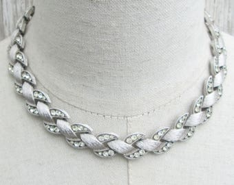 Stunning Brushed Silver Clear Rhinestone CrownTrifari Necklace Choker, Signed