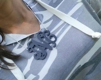 """XXL 3"""" Black Monogram Necklace"""
