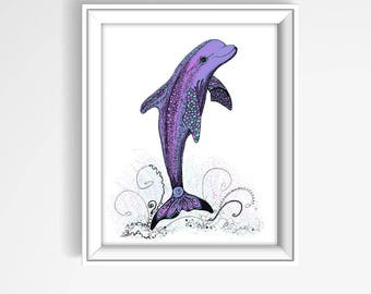 Dolphin Watercolor Art, Dolphin Print, Dolphin Art Print, Bathroom Art, Dolphin Wall Art, Dolphin Decor, Wall Art, Dolphin Painting P1026B