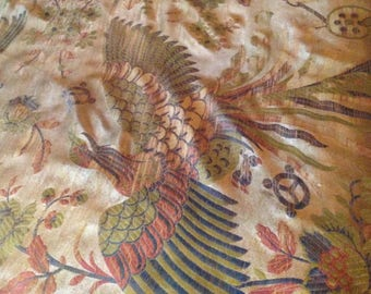 Beautiful 30s woven Chinese Phoenix birds floral golden tasseled large bedcover/ curtain/ hanging~ great interior decoration