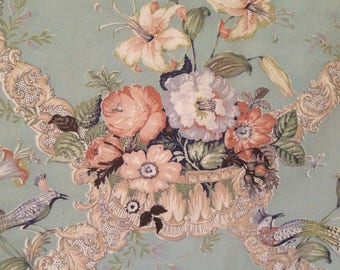 Divine antique Victorian 1880s soft florals and bird of paradise textile fabric~ pillow projects~ so beautiful!