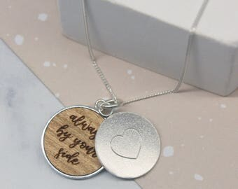 Secret Message Necklace, Hidden Message, Heart Necklace, Gift for Her, Personalised Heart Secret Message Disc Necklace