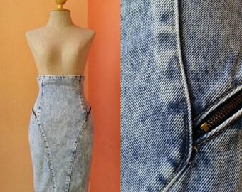 80s Denim Skirt Womens Jeans Summer Skirt Casual Skirt Day Skirt Streetwear Vintage 1980s High Waist Jeans Skirt Knee Length XS Extra Small