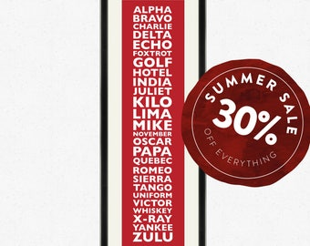 SALE 30% OFF - NATO phonetic alphabet Typographic Print