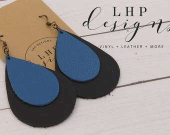 Carolina Panther's Layered Blue and Black Leather Earrings
