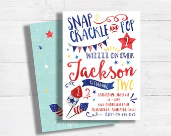 4th of July Birthday Invitation - 4th of July Kids Party - Summer Fireworks Birthday Invite - Red White and Blue - Stars Stripes Birthday