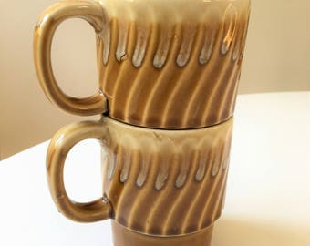 Vintage stacking Japanese coffee cups - pair in caramel color-  drip glaze