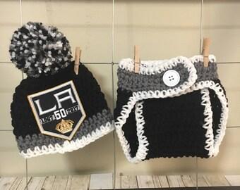 Baby Kings hat, LA Kings hat, newborn Kings hat, newborn LA Kings diaper cover, LA Kings photo props