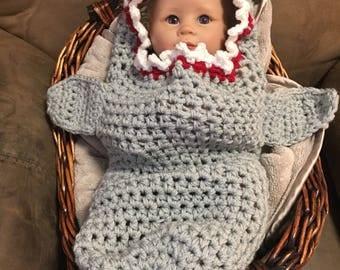 Baby shark cocoon, crochet hooded baby shark cocoon, baby shark photo prop, newborn shark cocoon, baby shark Halloween costume