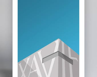 Minimalist Cintas Center - Football Stadium Art Print - Xavier University Musketeers
