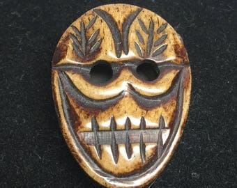 Vintage Hand Carved African Wood Skull Bead Day of the Dead