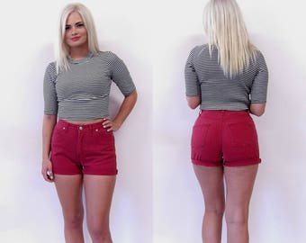 Vintage Cutoff High Waisted Shorts//high waist red denim shorts wedgie shorts Made in USA waist 26 27 28