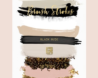 Black nude. Glamour black and neutral  colors palette. Gold glitter.  Brush Strokes Clip Art . Watercolor clipart. Digital Design Resource.