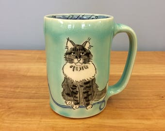 Handmade Mug with Kitty and Yarn. Glazed in Aqua & Blue. MA103