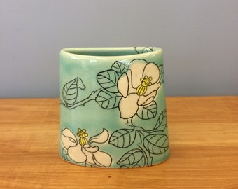 Handmade Envelope Vase with Magnolia Deco . Glazed in Aqua. MA75