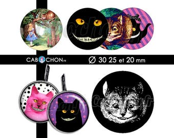 The Cheshire Cat • 45 Images Digitales RONDES 30 25 20 mm page cabochon bijoux alice wonderland chat cheshire mad here chapelier lapin thé