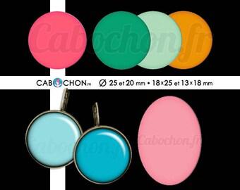 Les Monochromes • 60 Images RONDES 25 20 mm OVALES 18x25 13x18 mm couleur couleurs arc en ciel rose vert bleu uni monochrome orange