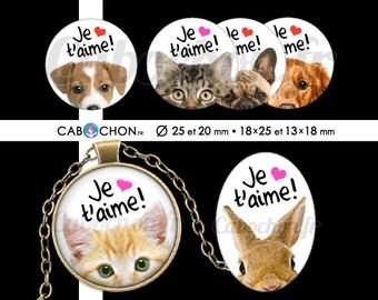 Je t'aime 5 • 60 Images Digitales RONDES 25 20 mm et OVALES 18x25 13x18 mm amour saint valentin animaux chat chien lapin souris coeur