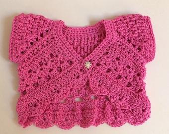Baby Crochet Shrug. Baby bolero. Sizes from birth - 6 years