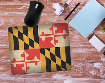 Maryland Flag Mouse Pad, Maryland Crest Flag Design Mousepad, Office Desk Accessories, Personalized Mouse Pad, Office Supplies