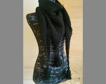 Black By Freyja crochet shawl. Made to order