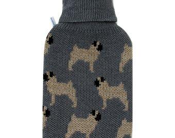 Merino Wool Pug Hot Water Bottle Cover