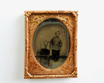 Antique Daguerreotype Boy in Chinese Clothes