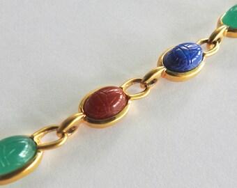Trifari Lucite Scarab Bracelet