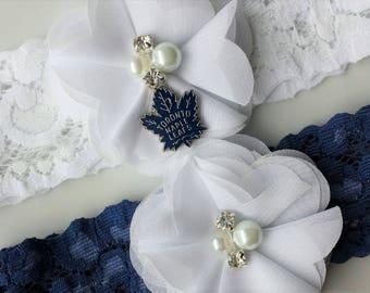 Sport Garter, Toronto Maple Leaf, White, Blue, Navy, NHL, Wedding Bridal Custom Lace Stretch Garter Belt, Hockey, Team Charm, Wedding Toss